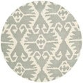 Safavieh Hand-made Wyndham Grey/ Ivory Wool Rug (5' Round)