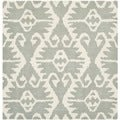 Safavieh Hand-made Wyndham Grey/ Ivory Wool Rug (7' Square)