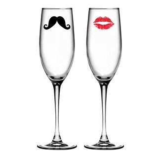 Moustache and Kiss Toasting Flutes (Set of 2)