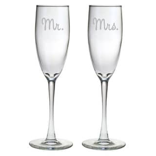 Mr. and Mrs. Glass Toasting Flutes (Set of 2)