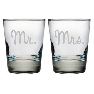 Mr. and Mrs. Double Old Fashioned Glasses (Set of 2)