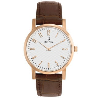 Bulova Men's Brown Calfskin Leather Strap Watch