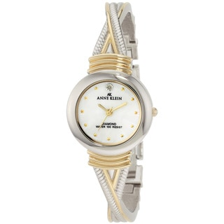 Anne Klein Women's '10-9069MPTT' Stainless Steel Mother-of-Pearl Dial Quartz Watch