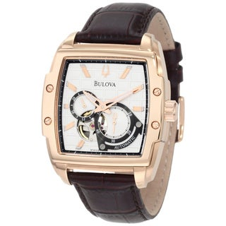 Bulova Men's 'Mechanical 97A103' Brown Calf Skin Silvertone Dial Automatic Watch