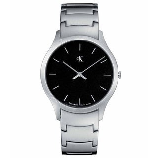 Calvin Klein Men's 'Classic K2611104' Silvertone Stainless Steel Black Dial Quartz Watch
