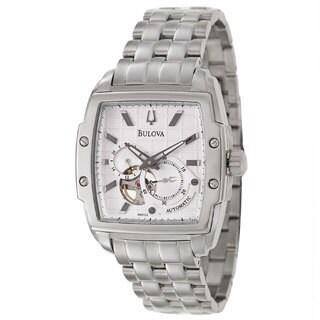 Bulova Men's 'Mechanical 96A122' White Stainless Steel Silver Dial Automatic Watch