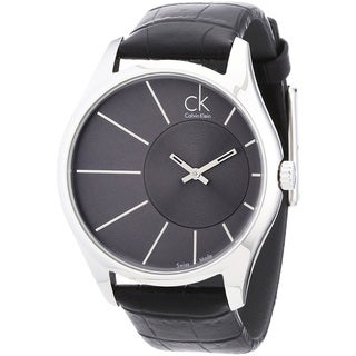 Calvin Klein Men's 'Deluxe K0S21107' Black Leather Black Dial Quartz Watch