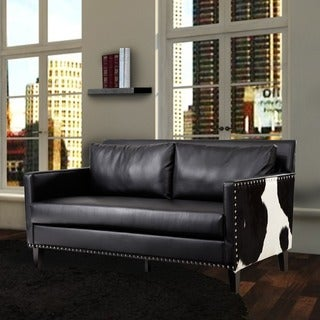 Dallas Love Black Faux Leather/ Real Cowhide Side Panels Loveseat