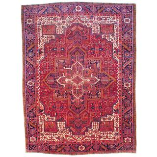 Persian Hand-knotted Heriz Red/ Navy Wool Rug (9'6 x 13'1)