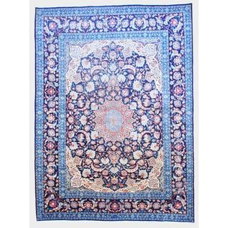 Persian Hand-knotted Kashan Navy/ Red Wool Rug (9' x 13'5)