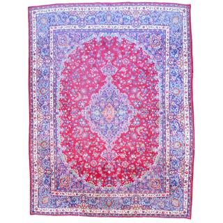 Persian Hand-knotted Mashad Red/ Navy Wool Rug (9'7 x 12'9)