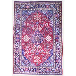 Persian Hand-knotted Kashan Red/ Navy Wool Rug (9'1 x 13'11)