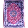 Persian Hand-knotted Mashad Red/ Navy Wool Rug (9'10 x 12'11)