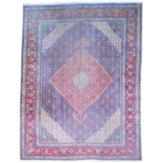 Persian Hand-knotted 1940's Tabriz Navy/ Red Wool Rug (9'10 x 12'11)