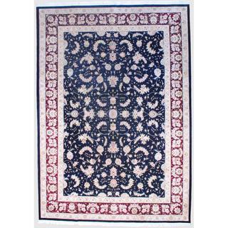 Sino Hand-knotted Tabriz Black/ Burgundy Wool/Silk Rug (9'10 x 14')