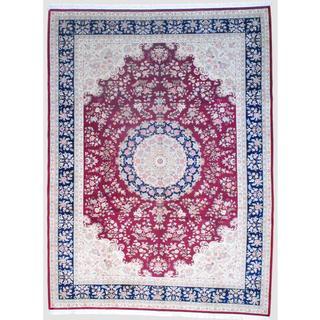 Sino Hand-knotted Tabriz Burgundy/ Navy Wool/Silk Rug (10'2 x 14')