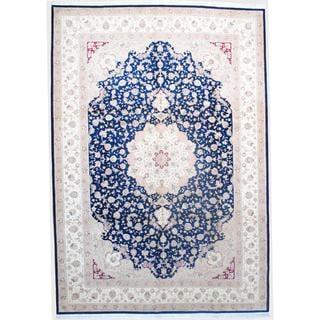 Sino Hand-knotted Tabriz Navy/ Ivory Wool/Silk Rug (10' x 14'5)