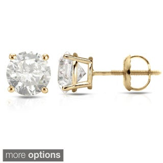 Auriya 18K Yellow Gold 1/2ct to 2ct TDW Clarity-Enhanced Diamond Stud Earrings (H-I, I2-I3)