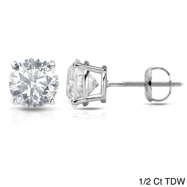 Auriya Platinum 1/2ct to 1 1/2ct TDW Clarity-Enhanced Diamond Screw-Back Earrings (E-F, I3)