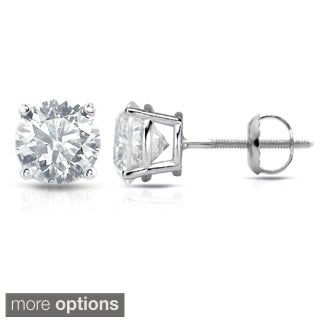 Auriya Platinum 1/2ct to 1 1/2ct TDW Clarity-Enhanced Diamond Screw-Back Earrings (E-F, I3)