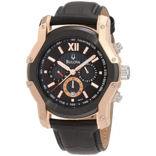 Bulova Men's 'Wintermoor 98B158' Black Calf Skin Black Dial Quartz Watch