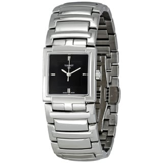 Tissot Women's 'T-Evocation T051.310.11.051.00' Silvertone Stainless Steel Black Dial Quartz Watch