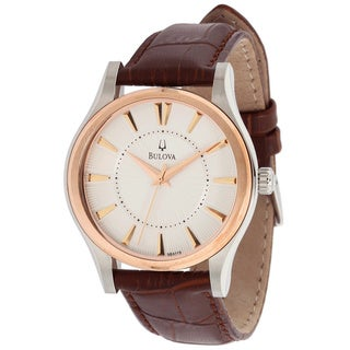 Bulova Men's 'Dress 98A119' Brown Calf Skin White Dial Quartz Watch