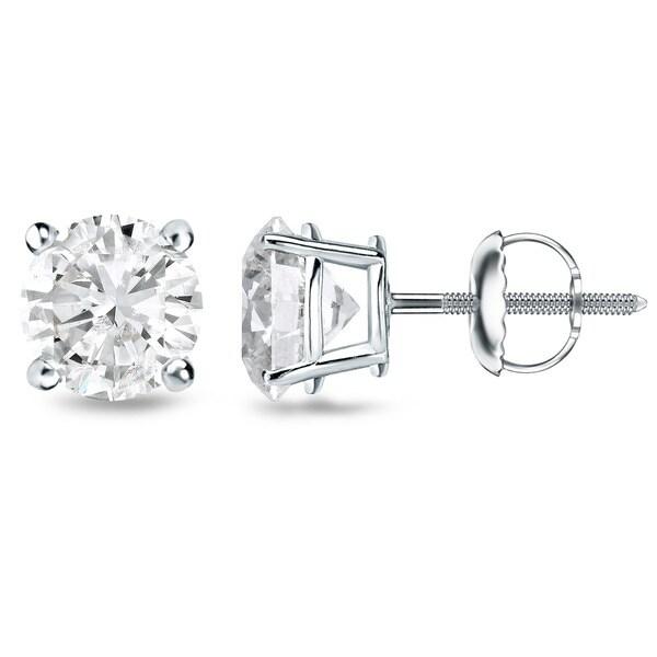 18K White Gold Clarity-Enhanced Diamond Stud Earrings (J-K, I2-I3)