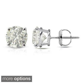Auriya 18K White Gold 1/2ct to 2ct TDW Clarity-Enhanced Diamond Stud Earrings (J-K, I2-I3)