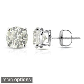 18K White Gold Clarity-Enhanced Diamond Stud Earrings (J-K, I2-I3)