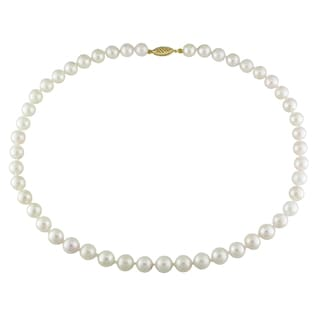 Miadora 14k Yellow Gold White Akoya Pearl Necklace (7-7.5 mm)