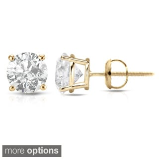 Auriya 18K Yellow Gold 1/2ct to 2ct TDW Clarity-Enhanced Diamond Stud Earrings (E-F, I2-I3)