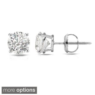 Auriya 14k White Gold 1/2ct to 1 1/2ct TDW Hearts and Arrows Diamond Stud Earrings (H-I SI1-SI2)