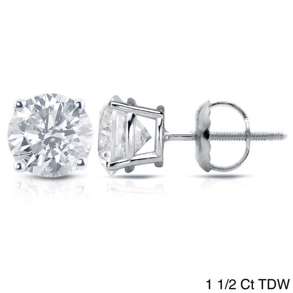 Auriya 18K White Gold 1/2ct to 2ct TDW Clarity Enhanced Diamond Stud Earrings (E-F, I2-I3)