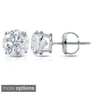 Auriya 18K White Gold 1/2ct to 2ct TDW Clarity Enhanced Diamond Stud Earrings (E-F, I2-I3)