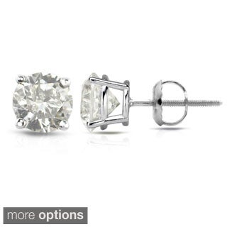 Auriya 18K White Gold 1/2ct to 2ct TDW Clarity-Enhanced Diamond Stud Earrings (H-I, I2-I3)