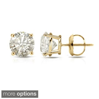 Auriya 18K Yellow Gold 1/2ct to 2ct TDW Clarity-Enhanced Diamond Stud Earrings (J-K, I2-I3)