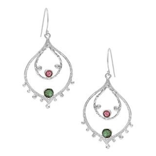 Filigree Silvertone Tourmaline Stone Earrings (Israel)
