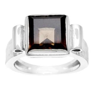 Geometric Silvertone with Smokey Stone Ring (Israel)
