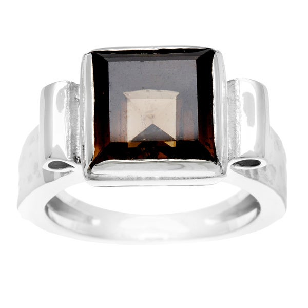Geometric Silvertone with Smokey Stone Ring (Israel)