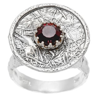 Metal Mesh Silver Round Wine Ring (Israel)