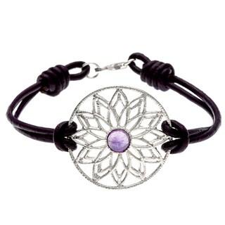Leather-banded Silvertone Amethyst Star Bracelet (Israel)