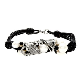 Leather Ropes Silvertone and Pearl Cluster Wrap Bracelet (Israel)