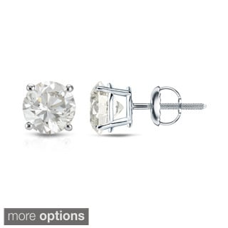 Auriya 14K White Gold 1/4ct to 1ct TDW Round Diamond Screw-Back Earrings (H-I, VS1-VS2)