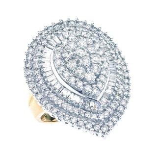 14k Two-tone Gold 3ct TDW Pear Shape Baguette Diamond Ring (H-I, I1-I2)