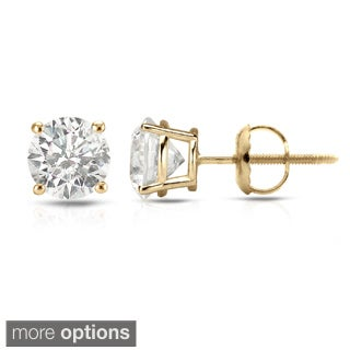 Auriya 14k Yellow Gold 1/2ct to 1 1/2ct TDW Hearts and Arrows Diamond Stud Earrings (H-I SI1-SI2)