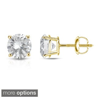 Auriya 14K Yellow Gold 1/4ct to 1ct TDW Round Diamond Screw-Back Earrings (E-F, VS1-VS2)