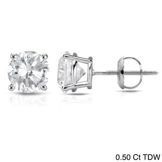 Auriya 14K White Gold Round Diamond Stud Earrings (E-F, VS1-VS2)
