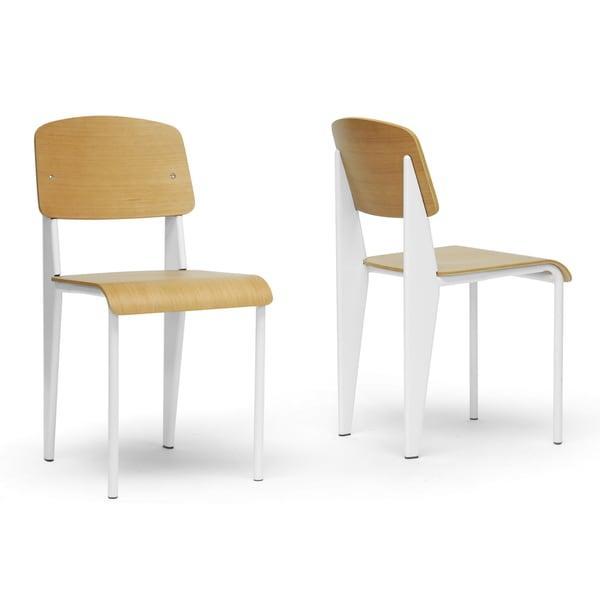 Baxton Studio Langsam Modern Dining Chair with White Frame (Set of 2)