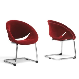 Baxton Studio Dufresne Red Velveteen Dining Chairs (Set of 2)